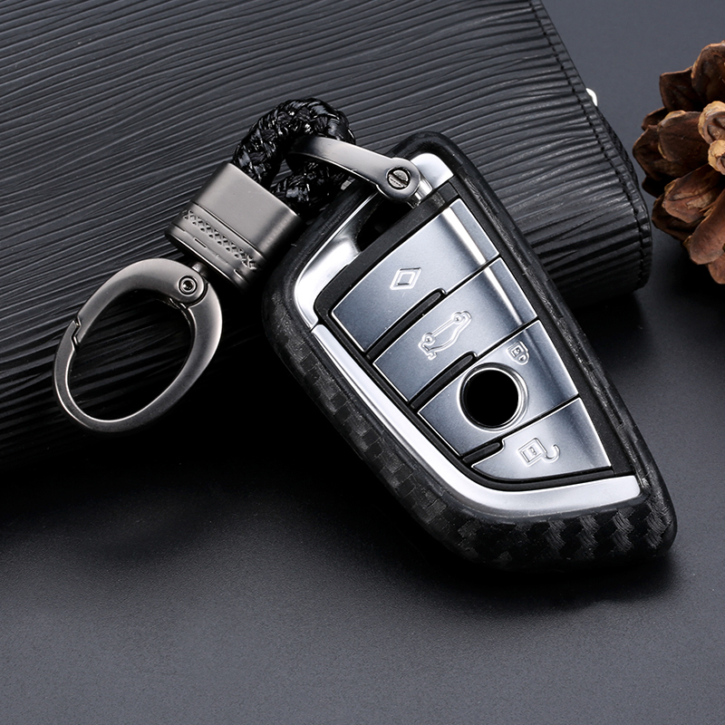Car Key Case Cover Carbon Fiber For BMW X1 X3 X5 X6 Series 1 2 5 7 F15 F16 E53 E70 E39 F10 F30 G30 Car Key Fob Shell Protecor
