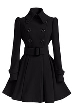 office lady solid female wool blend coat  elegant a-line long Cashmere blend coats turn down collar double breasted