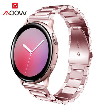 20mm 22mm Rose Pink Stainless Steel Strap Folding Buckle Metal Band for Samsung Galaxy Active2 42mm Gear S3 Amazfit Smart Watch