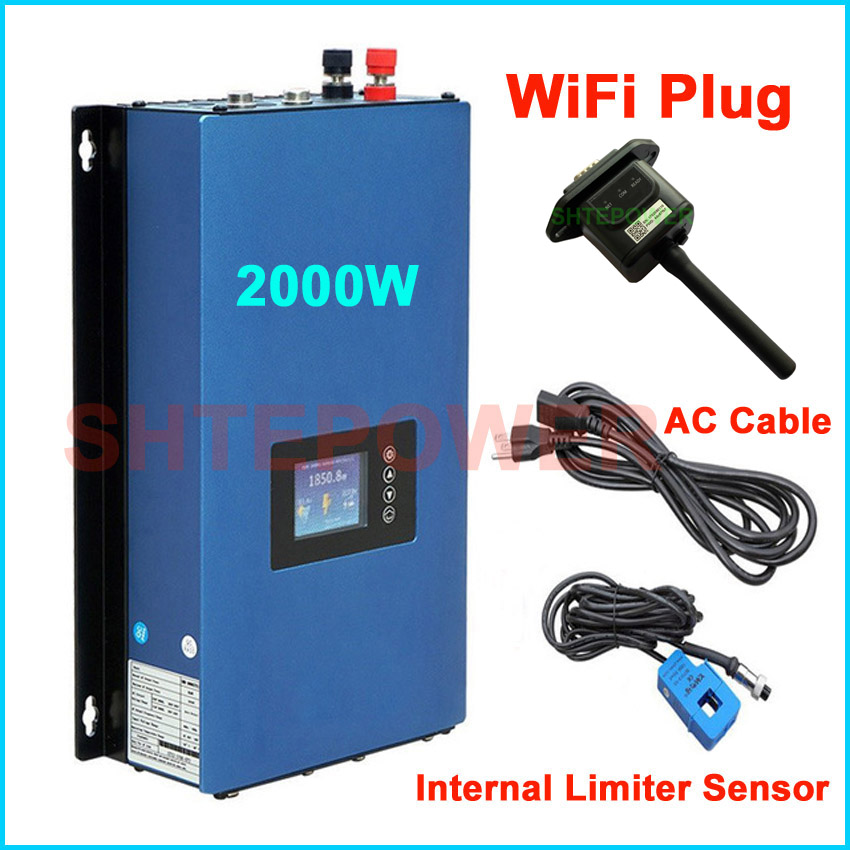 2KW MPPT do Laço Da Grade Inversor de Energia Solar inversor DC 45-90V de entrada para a saída AC com novo gerador wifi plug & inter limitador