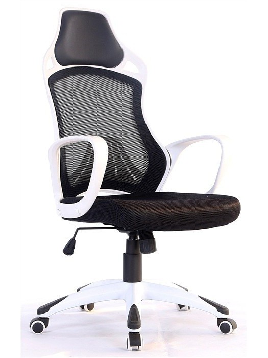 Office Armchair KELLY, White, Gas, Rocker, Mesh And Black Fabric