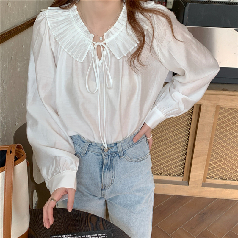 H550ac6a17125430ab508f1ac3cf05aeaa - Spring / Autumn Lace-Up Collar Long Sleeves Loose Solid Blouse