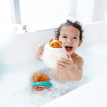 Hape baby bath toys water toy kids Swimming teddy rubber duck on swimming pool