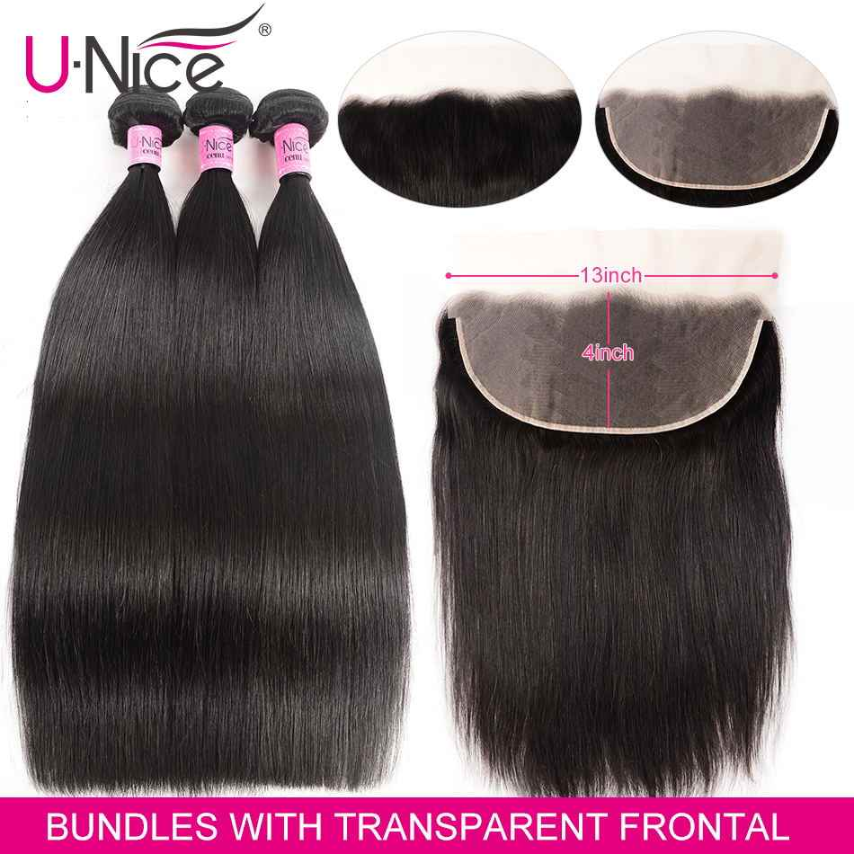 UNice Hair 13x4 Transparent Lace Frontal Closure With 3 Bundles Peruvian Straight Human Hair Bundles Lace Closure 4PCS