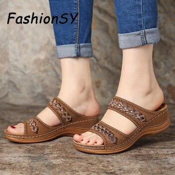 Women Wedge Sandals Gladiator Bohemia shoes Flip Flop Casual Platform Wedge Slides Open Toe Vintage Anti-slip Beach Shoes 2