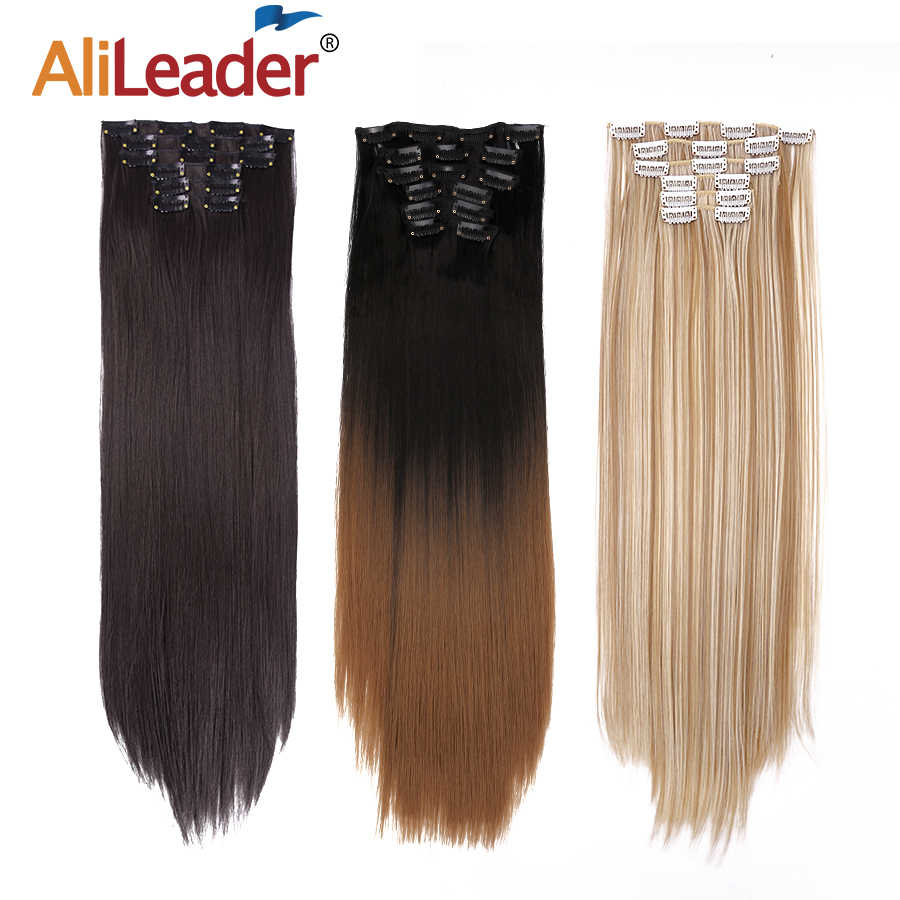 "Alileader 6 Stks/set 22 ""Haarstukje 140G Straight 16 Clips In Valse Styling Haar Synthetische Clip In Hair Extensions hittebestendige"