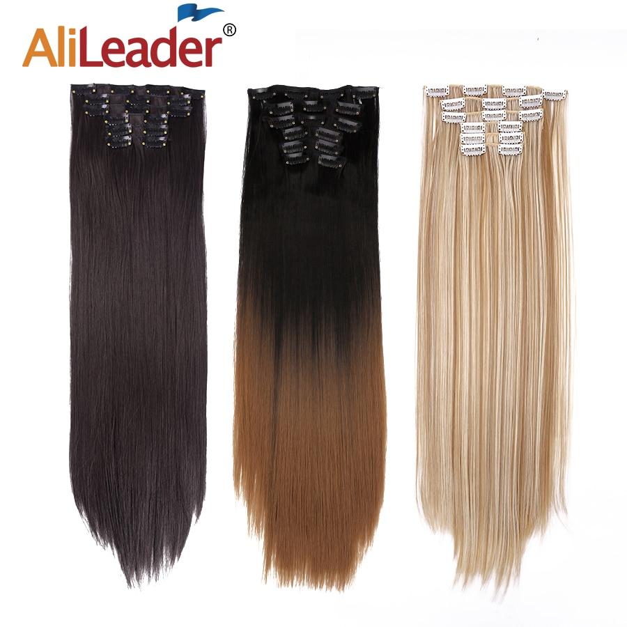 "Alileader 6 Stks/set 22 ""Haarstukje 140G Straight 16 Clips In Valse Styling Haar Synthetische Clip In Hair Extensions hittebestendige"