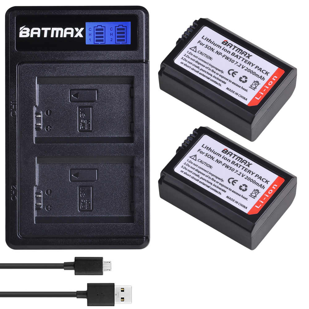 Bamtax NP-FW50 NP FW50 NPFW50 npfw50 แบตเตอรี่ + LCD Dual Charger สำหรับ Sony Alpha A6500 A6300 a6400 A6000 A5000 A3000 NEX-3 a7R
