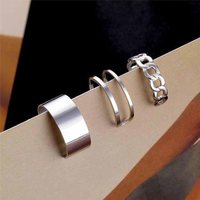 Punk Metal Geometric Round Ring Set Silver Color Open Rings for Women Fashion Finger Accessories Buckle Joint Tail Ring Jewelry 4