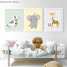 цена Baby Animal Nursery Canvas Poster Wall Art Print Painting Nordic Kids Decoration Picture Children Bedroom Decor онлайн в 2017 году