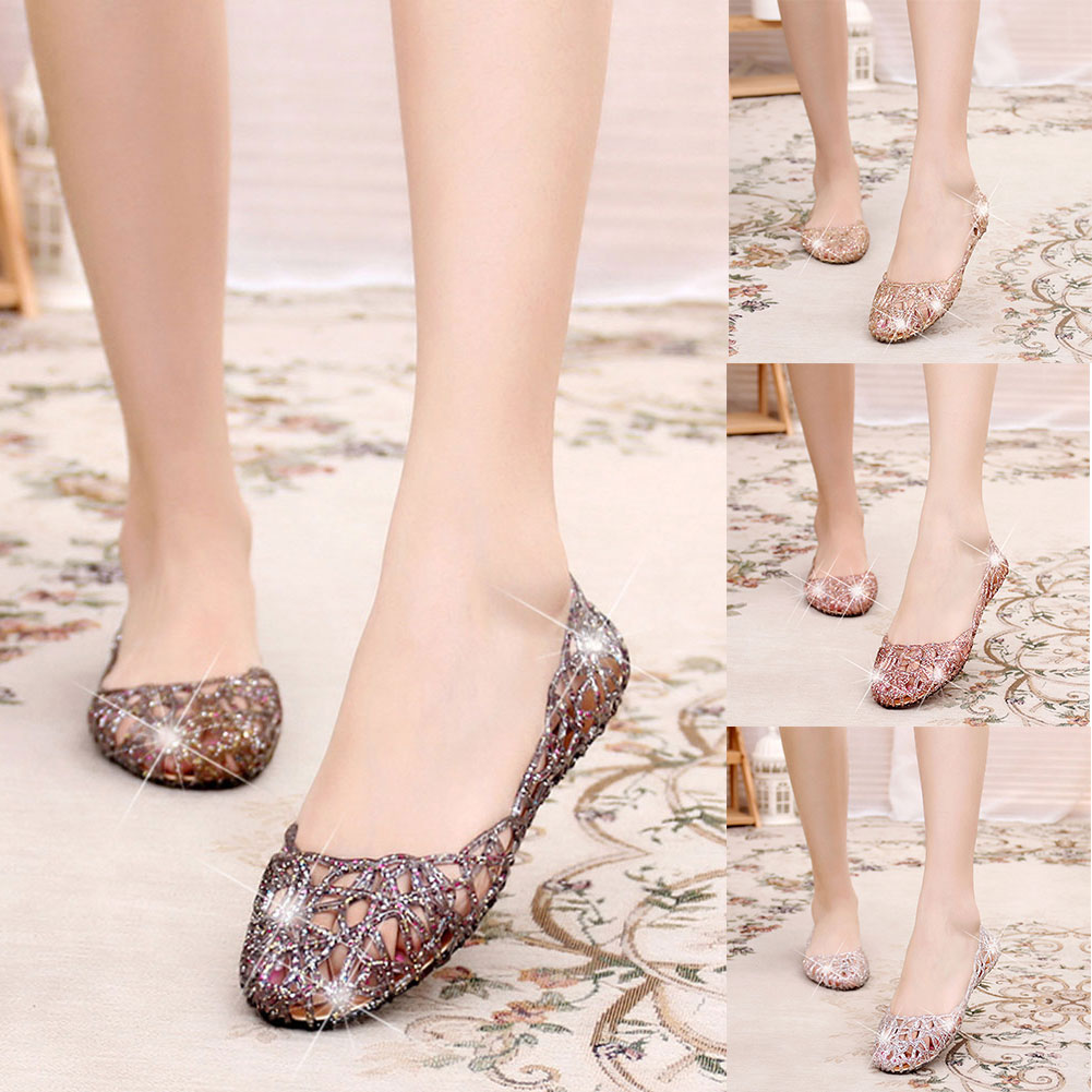 1 Pair Women Hollow Glitter Sandals Jelly Flat Shoes Breathable For Summer Beach Party ASD88