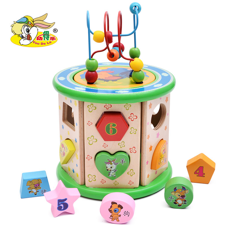 CHILDREN'S Toy Large Size Bead-stringing Toy Treasure Chest 1-3 Years Old Baby Educational Beaded Bracelet Wooden Multi-function