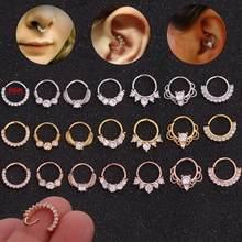 Brinco de argola aberta 8mm, brinco de cartilagem cz, piercing de orelha, nariz e septo, atacado, 2020, 1 peça joias,