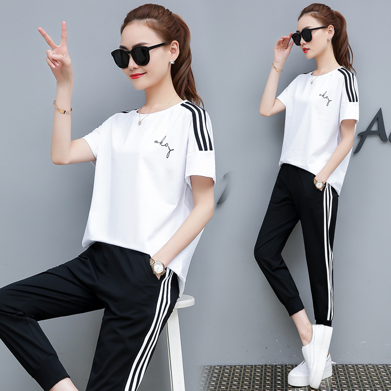 2019 Summer Wear New Style Fashion Short Sleeve Lady Casual Sports Clothing Set Slim Fit Summer Two-Piece Set Summer WOMEN'S Dre