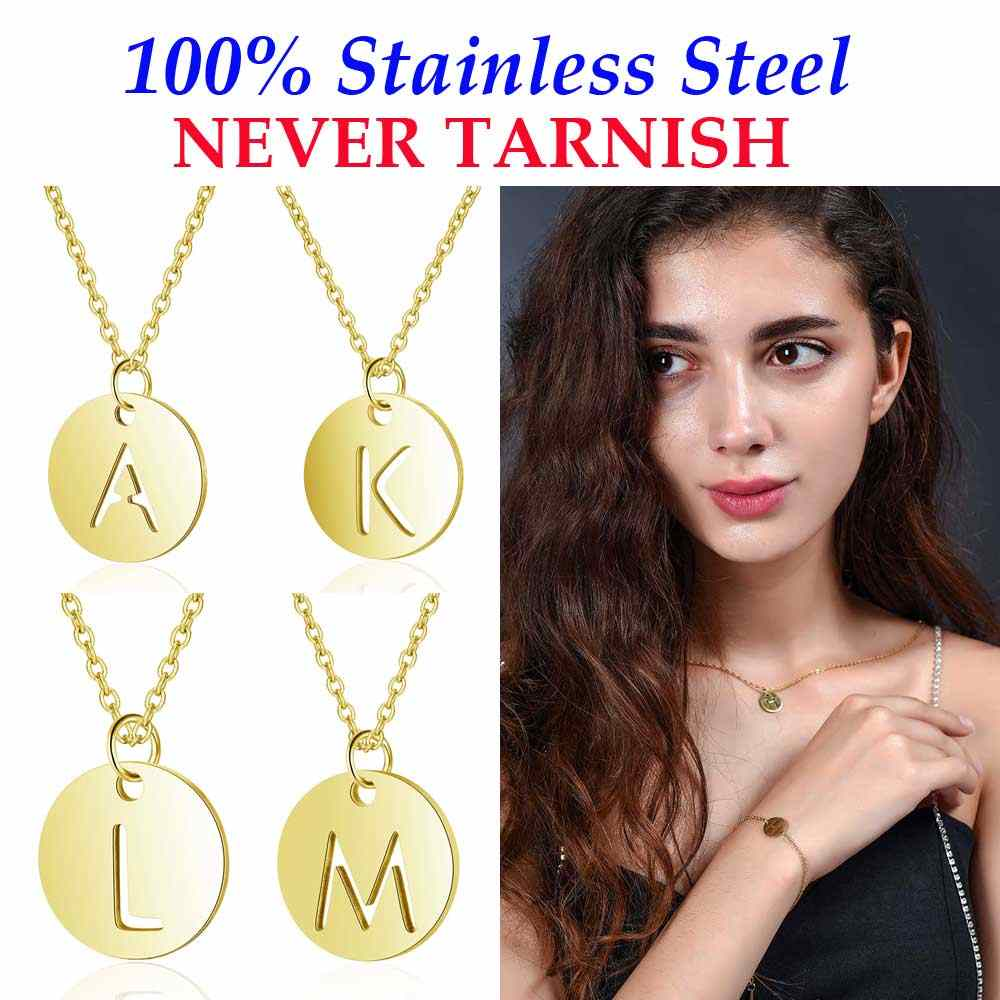 Vnistar Stainless Steel Initial Name Necklaces 100% Steel Never Tarnish A-Z Alphabet Charm Pendant Women's Necklace
