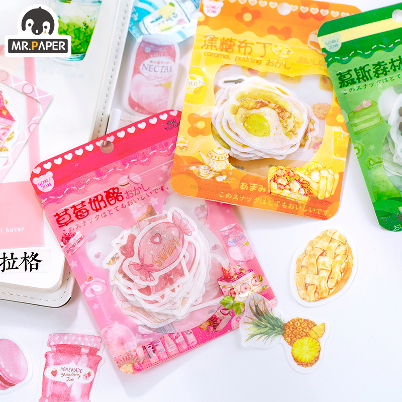 Mr.paper 4 Designs Pudding Sweet Kawaii Ins Deco Decals Stickers Scrapbooking Bullet Journal Toy Phone Deco Album DIY Stationery