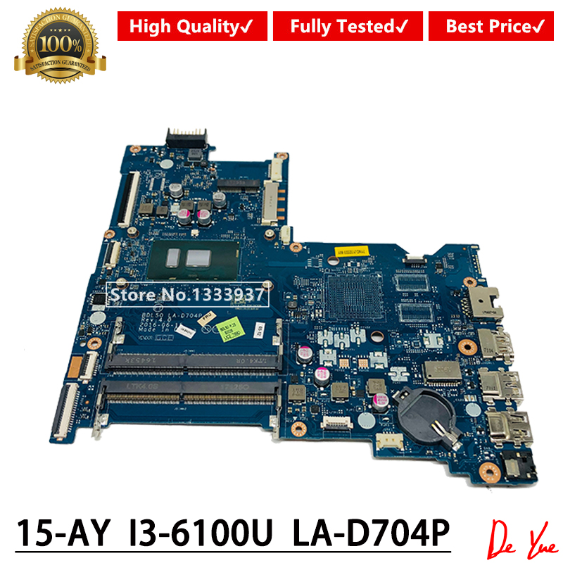 BDL50 LA-D704P FOR HP 15-AY 15-AY028 Laptop Motherboard 854946-601 860168-601 With SR2EU I3-6100U DDR4 MainBoard 100% Tested