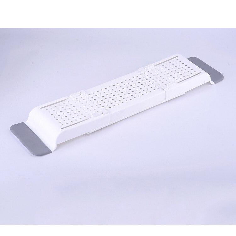 Выдвижной Пластиковая Полка для ванной комнаты Ванна Полка для ванной сушилка поднос для ванной кухонный Органайзер хранилище аксессуары - Цвет: white