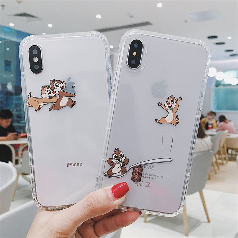 Cartoon ins Cute Chip Dale squirrel Transparent interesting phone case cover for iphone 7 8 6