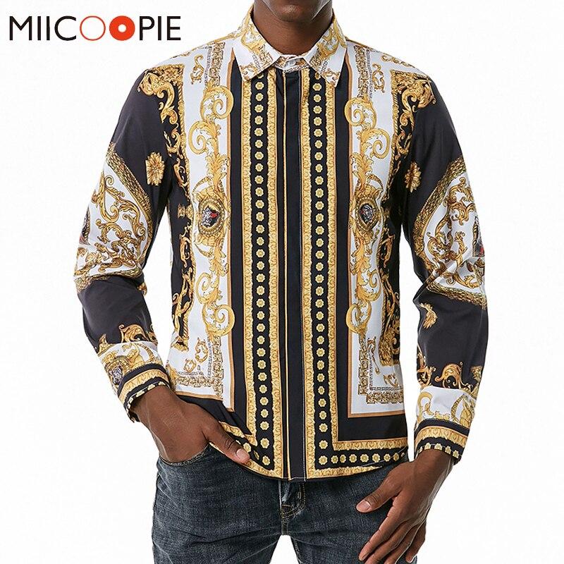 Мужская модная трендовая одежда рубашка с длинными рукавами рубашка для мужчин Роскошный Королевский с тигровым принтом, вечерние смокинг...