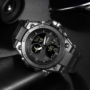 цена Men Military Digital Sports Watch Tactical Waterproof Outdoor LED Backlight Alarm Multi Function Big Analog Quartz Dual Display онлайн в 2017 году