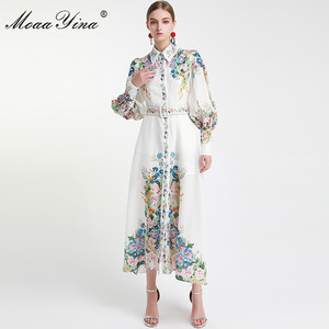 MoaaYina Fashion Designer Runway dress Spring Autumn Women Dress Lantern Sleeve Floral-Print Vacation Dresses