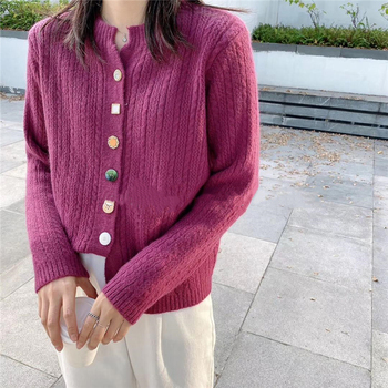 Ailegogo New 2020 Autumn Winter Women's Sweaters V-Neck Buttons Short Cardigans Fashionable Korean Ladies Knitwears SWC2217 3