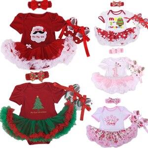 Conjunto de ropa de Navidad para bebés y niñas de 3 piezas, traje, Pelele con tutú de princesa, mono, fiesta de Navidad, Vestido de cumpleaños