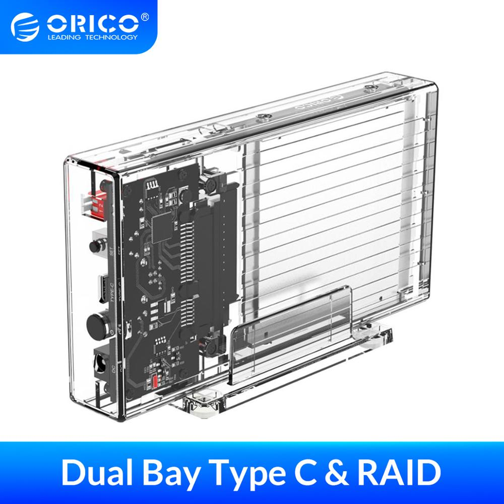 ORICO <font><b>2.5</b></font>'' HDD <font><b>Enclosure</b></font> with <font><b>RAID</b></font> Transparent 5Gbps Transmission Speed SATA3.0 SSD HDD Case Box Support For Windows/Mac/Linux image