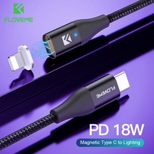 """FLOVEME 18W פ""""ד 3.0 סוג C כדי תאורת כבל מגנטי מטען עבור iPhone 7 8X11 USB C כבל נתונים עבור אפל מהיר טעינת חוט"""