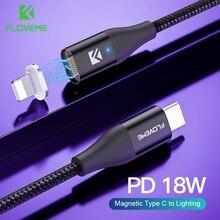 FLOVEME 18W PD 3.0 Type C à câble déclairage chargeur magnétique pour iPhone 7 8X11 USB C câble de données pour Apple fil de charge rapide