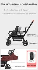Image 5 - Seebaby ikizler bebek arabası çift çocuk 4 tekerlekli bebek arabası arka koltuk ayakta kurulu ile T12 avrupa tarzı