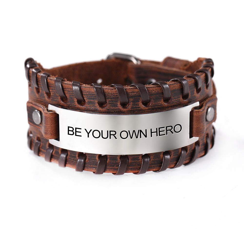 Skyrim Fashion Inspirational Words Bangles Stainless Steel Charm Genuine Leather Wrap Wristband Bracelet Jewelry for Men Gift