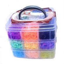 5200 sztuk 15 kolorów DIY bransoletka silikonowa pudełko trójwarstwowe maszyny tkackie Knitting zabawki rzemiosła dla dzieci w sprzedaży hurtowej