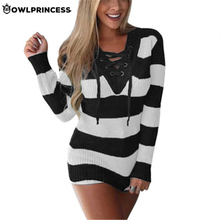 Madam clothing OWLPRINCESS Stripe Winter Women Sweater V Neck Lace Up Warm Pink