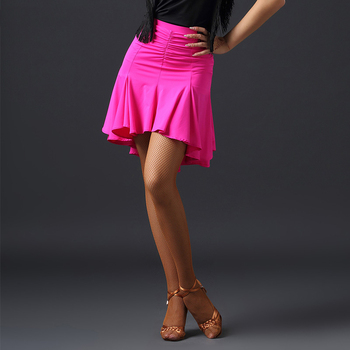 New Arrival Latin Dance Skirt For Women Sexy Stage Performance Ruffled Half Skirt Standard Cha Cha Rumba Latino Wear DWY2115