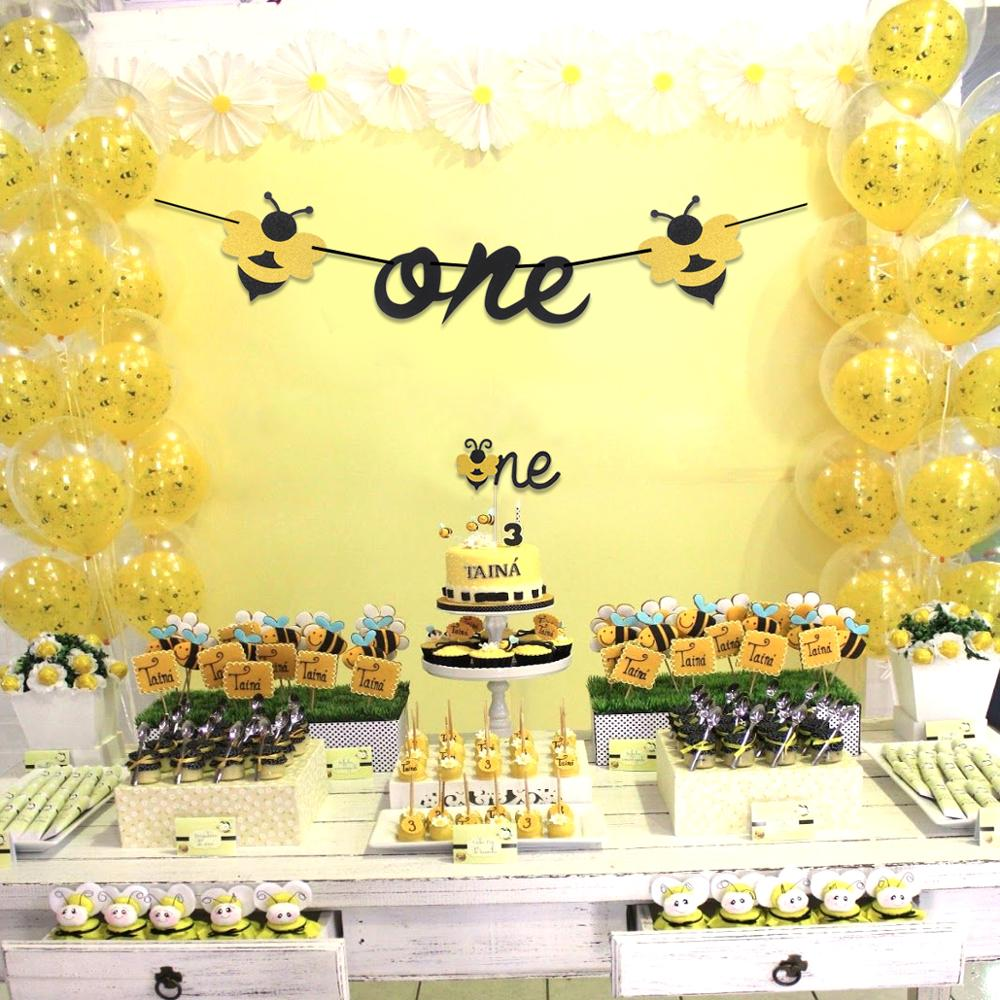 Happy 1st Bee Day Banner Glitter Gold 1st Birthday Themed Party One High Chair Sign Boy Girl First Birthday Party Decorations Toys Games Banners