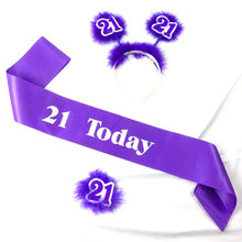3pcs 21 30 40 50 today set 1 satin ribbon white printing sash 1 feather headband 1 number brooch for women birthday party