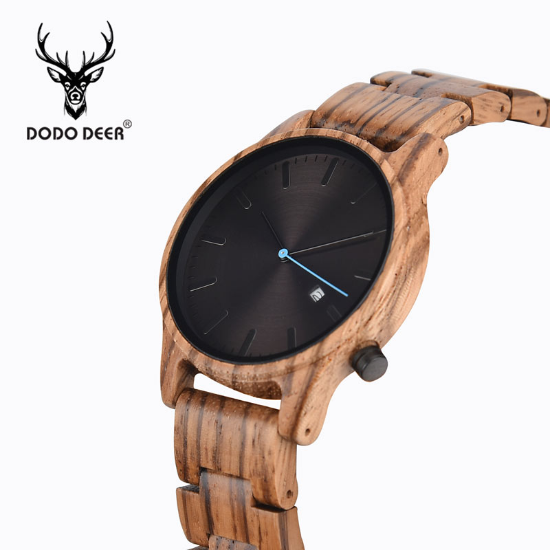 DODO DEER Mens Watches Top Luxury Brand Men Sports Watches Men's Quartz Wood Clock Male Full Steel Military Wrist Watch OEM B09