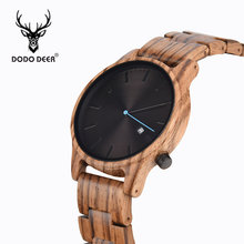 DODO DEER Mens Watches Top Luxury Brand Men Sports Watches Men's Quartz Wood Clock Male Full Steel Military Wrist Watch OEM B09 все цены