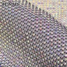 JUNAO 1x1,5 метров SS12 SS16 блестящий черный AB стекло стразы сетка ткань шитье Кристалл отделка ленты аппликация из страз украшения