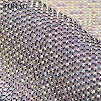 JUNAO 1x1.5 Meter SS12 SS16 Shiny Black AB Glass Rhinestone Mesh Fabric Sewing Crystal Trim Ribbon Strass Applique Decoration