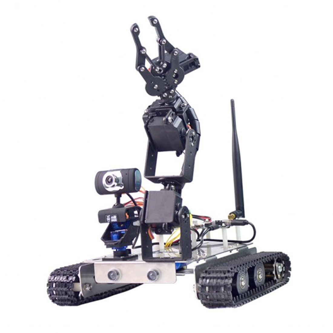 Programmable Robot Wifi + Bluetooth Chassis Track Tank Car Arm For Raspberry Pi 3B+Line Patrol Intelligent Obstacle Avoidance