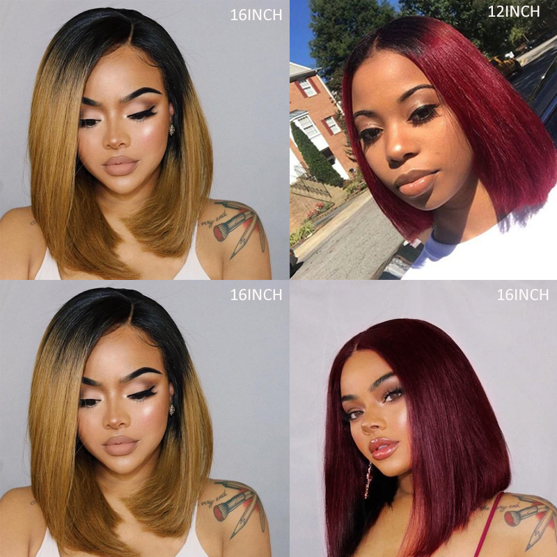 13x4 Lace Front Human Hair Wigs With Baby Hair Ombre Red Brown Brazilian Straight Lace Wigs Pre Plucked Remy Hair Wig 150% KEMY