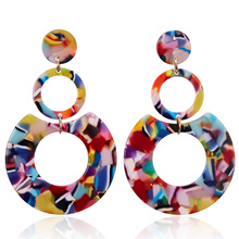 2020 Big Boho Colorful Acrylic Drop Earrings for Women Vintage Resin Long Statement Dangle Bohemia Earring Korean Female Jewelry