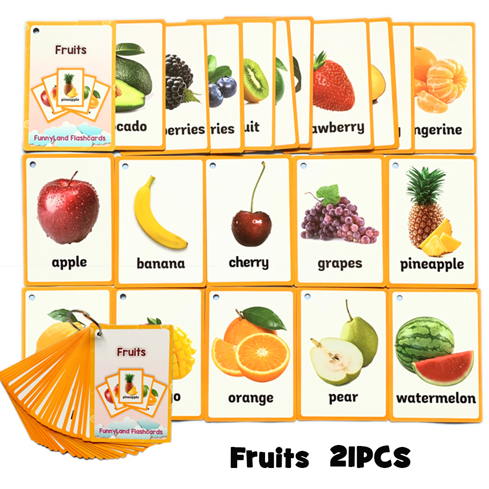 Fruits Food Quantities Vegetable Kids English Word Card <font><b>Children</b></font> <font><b>Learning</b></font> Card Early Educational <font><b>Toys</b></font> <font><b>For</b></font> <font><b>Children</b></font> Flash Cards image