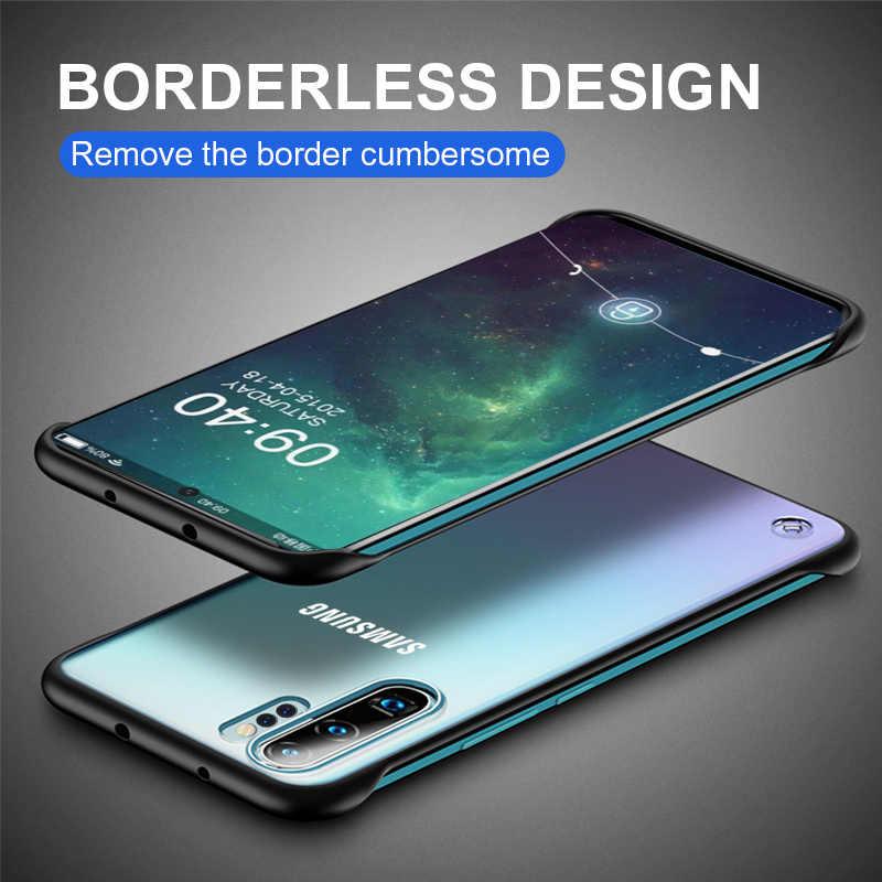 Samsung Not 10 Artı 8 9 Vaka Çerçevesiz Şeffaf Samsung Galaxy S8 S9 Artı S10 5G metal halka darbeye dayanıklı Geri Durumda