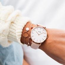 Women's casual leather strap quartz new watch watch relogio