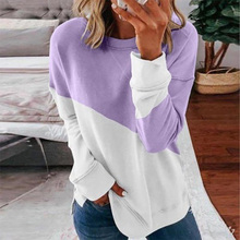 Patchwork T-shirt Women Long Sleeve Tops Tee 2020 Spring Autumn T Shirt Women Clothes Female O-neck Tee harajuku mujer camisetas