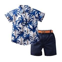1-6y infantil bebê meninos conjunto de roupa verão estilo havaiano manga curta botão para baixo camisa + calças curtas + cintura banda ternos